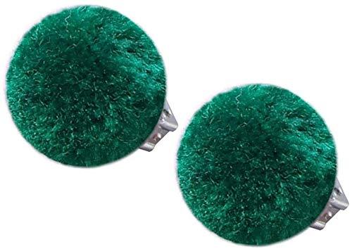 Aoyo 1 Par Kids Pom Pom Clip del oído de la Felpa de la Bola Cabrito Niñas Clip de la joyería Pendientes Sin Piercing (Color : Dark Green, Size : 2.5cm)