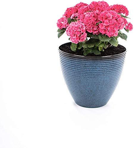 Macetas macetas de cerámica para las ollas de esmalte interiores y exteriores con agujeros de drenaje,Blue