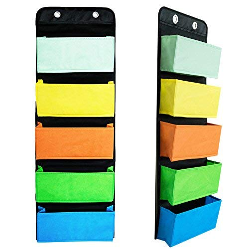 Youngever Wall Organizer Wall Hanging Organizer 5 Assorted Color Pockets