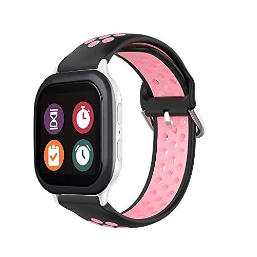Correa de repuesto compatible con reloj Gizmo para niños, ligero, transpirable, antisudor, banda deportiva de silicona, compatible con Verizon GizmoWatch 2/1, color negro y rosa