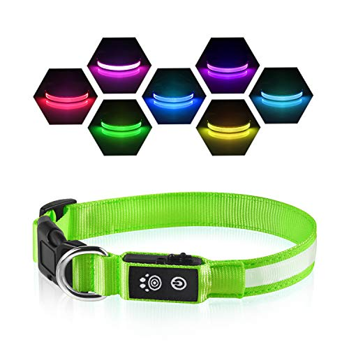 PcEoTllar LED Leuchthalsband Hunde Halsband USB Wiederaufladbar Wasserdicht 7 Farbwechsel Halsband Hund Klein Groß Mittel Super Helle Sicherheit für Die Nacht - Grün - L