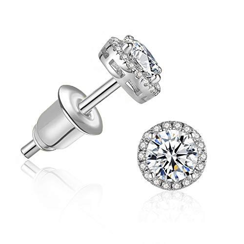 Cubic Zirconia Stud Earrings for Women - 18k Gold Plated Halo Hypoallergenic Earrings, Round Cut CZ Stud Earrings for Jewelry Gift