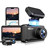 JOMISE Dual Dash Cam 4K&1080P Built in WiFi GPS Car Dashboard Camera Recorder with UHD 3840x2160P, 2.45' LCD,170° Wide Angle,WDR Night Vision G-Sensor,Support 128GB