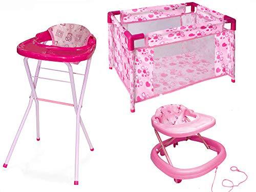 Aurora Store Baby Playset 3 in 1 Gioco per Bambole Bambina comprensivo di Culla, Seggiolone e Girello Set Completo Giocattolo per Bambole