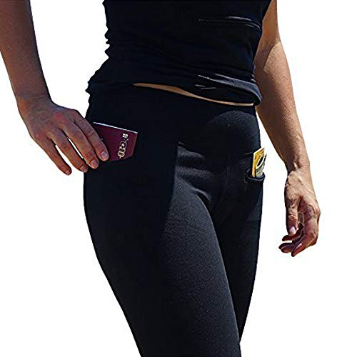 Women's Travel Leggings with Two Secret Hidden Pockets, Best Travel Pants for 100% Pickpocket & Loss Proof Holiday Tour Black
