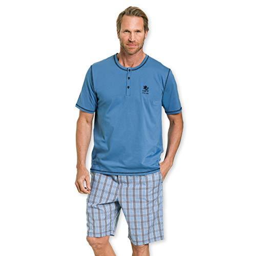 Otto Kern Herren Pyjama mit kurzer Hose 100% Baumwolle I Kurzarm Shirt mit Knopfleiste I Bermuda mit Seitentaschen & Knopfleiste Webkaro I Blau I Gr. 48 (S)