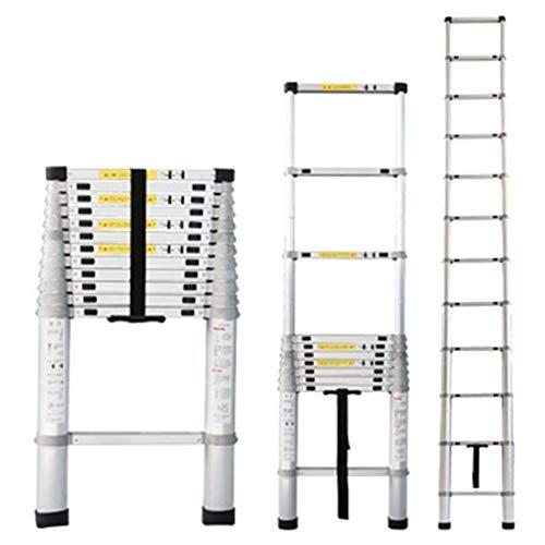 Asan Escalera Alta Extensible telescópica, escaleras Plegables Plegables telescópicas de Aluminio con Mecanismo de Bloqueo con Resorte, Carga 150 kg / 330 LB (tamaño: 4,4 m / 14,4 pies)