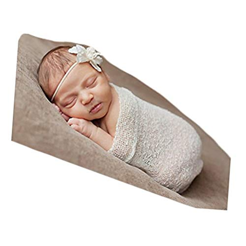 Vemonllas Luxury Stretch Newborn Boy Girl Baby Photography Props Wrap Yarn Cloth Blanket (White)