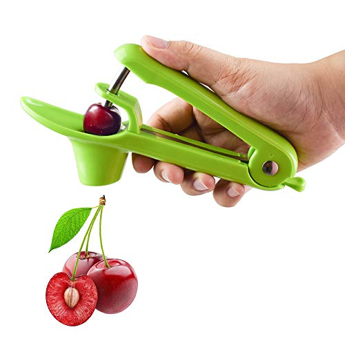 Cherry Pitter Tool Cherry Stoner Olive Pitter Tool Portable Kitchen Tool with SpaceSaving Lock Design  Green
