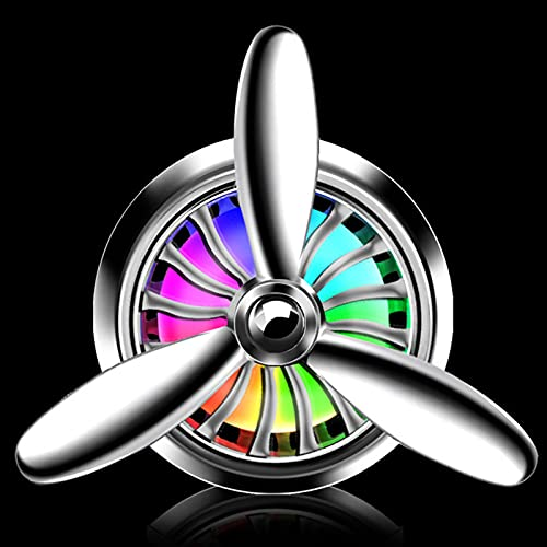 PPYA Car Air Fresheners Vent Clip, Spin Freshener Car Perfume Propeller Shape LED Light Fan Perfume Diffuser Vent Clip Decor for Purifying Air (Silver)