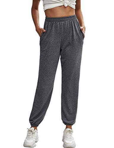Naggoo Womens Joggers Sweatpants Elastic Waist Workout Lounge Pants with Pockets(M,Dark Grey)