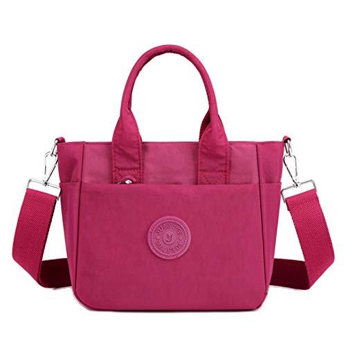 Bolsa De Hombro De Nylon De Las Mujeres Ligero Crossbody Bag Bolsa De Asas Billetera Mamá Bolsa Billetera(Size:23 * 10 * 20cm,Color:Vino rojo)