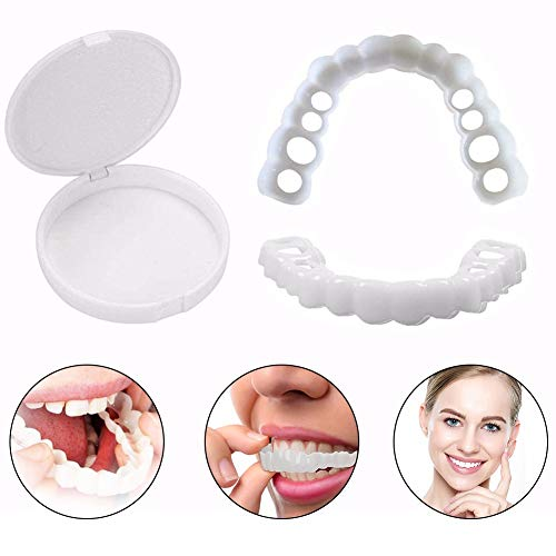 YXT Carillas Dientes Nuevo Snap on Instant Smile Flex se Adapta a la Diseño Práctico Adulto Temporal Blanqueamiento Comfort Fit Flex Cosméticos (Parte Inferior + Superior)