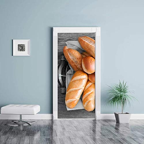 Drzwi Mural Do 3D Drzwi Żółty Chleb Naklejka Jedzenie Diy Home Decor Naklejki Samoprzylepne Wodoodporne Mural