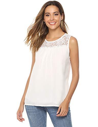Hawiton Damen Ärmellose Shirt mit Spitze & Chiffon Rundhalsshirt Chiffon Bluse Festliche Tunika Frauen Top Oberteil, Weiß-Top, XXL