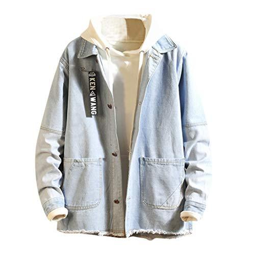 Dasongff heren denimshirt jeans overhemd dessin jack vintage patchwork jeansjas mantel streetwear lange mouwen button-down cardigan bovenstuk outwear voor lente, herfst winter Medium lichtblauw