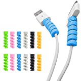TPLTECH 12Pack Charging Cable Protector Spiral Tube Wire Management Organizer Protective Cord Sleeve Line Saver for iPhone iPod iPad MacBook Tablet Charger Cord,Android Cell Phone,Mouse Cable 6 Colors