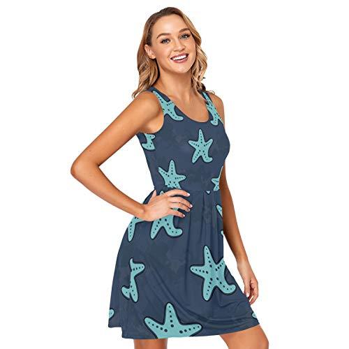 Women's Summer Dresses Casual Sleeveless Swing Cover Up Elastic Starfish Ocean Sundress with Pockets XXL (21003132)