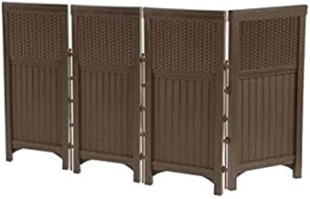 Suncast 4 Panel Outdoor Screen Enclosure - Freestanding Wicker Resin Reversible Panel Outdoor Screen - Perfect for Concealing Garbage Cans, Air Conditioners - Brown