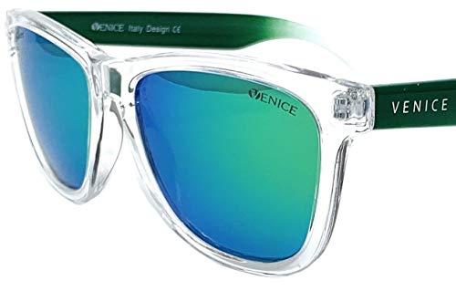 VENICE EYEWEAR OCCHIALI Gafas de sol unisex polarizadas con protección 100% UV400.(Transparente verde-espejo verde)…