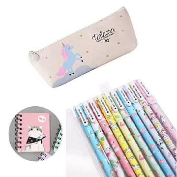 Unicorno Penne,SmileStar 10pcs Unicorno Penne di Colori e Astuccio e Unicorno Taccuino per Matita Unicorno per Amanti dei Fenicotteri e Degli Unicorno, un Ottimo Regalo x una Bambina (crema)