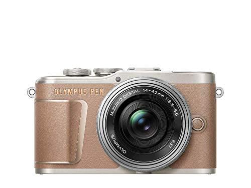 Olympus PEN E-PL10 Micro Four Thirds System Kamera Kit inkl. 14-42mm M.Zuiko EZ Objektiv, Bildstabilisierung im Gehäuse, schwenkbarer Monitor, 4K Video,Wi-Fi,16 Art Filter,9 erweiterte Fotomodi,Braun