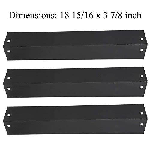 GasSaf 18 15/16 inch Heat Plate Replacement Parts for Chargriller 5050, 3001, King Griller 3008, 5252, and Mode Grill,Porcelain Stainless Steel Tent Flame Tamer Burner Cover(18 15/16 x 3 7/8)(3 Pack)
