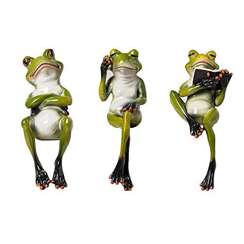 JIN GUI 3 interessante Froschdekorationen, kreatives Spielzeug der Handwerksfrosch-Puppe 3D, Nette Schreibtischdekoration-Harzdekoration, verwendbar für Gartenhaus oder Büro.