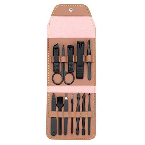 FRCOLOR 12Pcs Manucure Set Coupe-Ongles Kit de Pédicure Coupe-Ongles Cuticule Nipper Poussoir avec Sac pour Voyage Salon de Toilettage