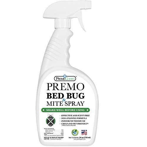 Bed Bug & Mite Killer Spray by Premo Guard 24 oz – Fast 100% Kill – Stain & Scent Free – Child & Pet Safe – Best Extended Protection – Natural & Non Toxic Treatment