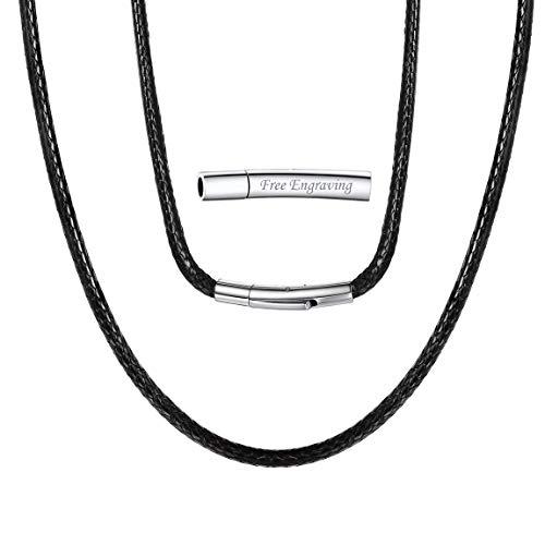 ChainsPro Círculo de Cordones Entretejidos Cuero Negro Corchete Mosquetón Masculino Femenino de Regalo Distinto Piel Verdadero Collar Alambre Collar Simple Custom