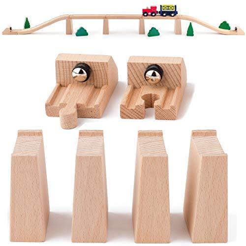 6 TLG. Set: 4 Brückenpfeiler & 2 Magnet Endstücke / Sperren - Holz - für Eisenbahn Schienen / Holzeisenbahn - passend für alle Schienen-Systeme & Straßen - z...