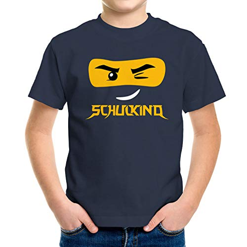 MoonWorks® Kinder T-Shirt Jungen Bausteine Gesicht Ninja Figur Einschulung Geschenk zur Einschulung Schulanfang Navy 122-128 (7-8 Jahre)