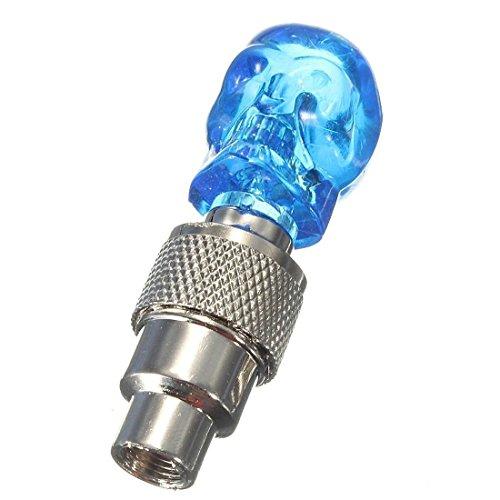 SODIAL Bouchon de valve avec une lumiere LED Bouchons de valve en forme de crane avec une lampes de roue pour bicyclette voiture Bike - bleu