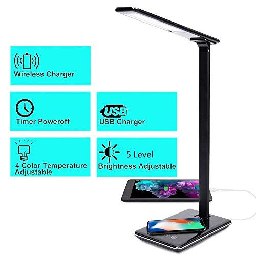 HyAdierTech LED Schreibtischlampe Tageslicht, Wireless Dimmbar Handy Laden Tischlampe Tageslicht Tischleuchte mit USB Büro Kinder Schreibtischleuchte