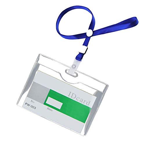 sac taske 名札 ホルダー ネームホルダー 首掛け ネック ストラップ 名刺 ID カード ケース (100個セット ハード ブルー)