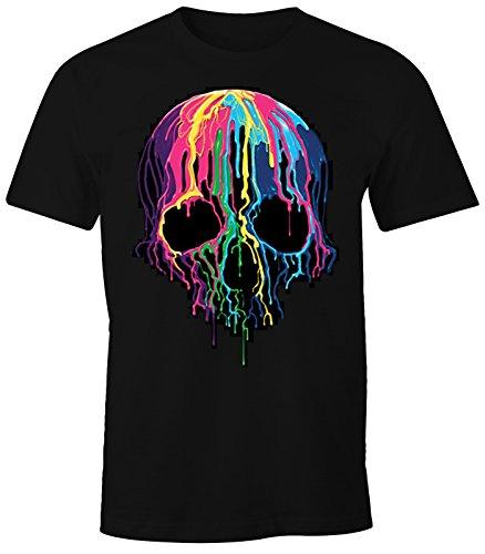 MoonWorks Herren T-Shirt bunter Totenkopf Neon verlaufende Farben Melting Skull schwarz L