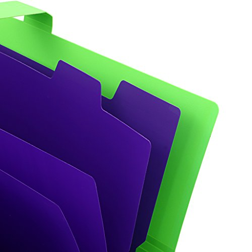 5-Pocket Expanding File with Button Closure, A4 Size Accordion File Folder Organizer Binder Wallet for Paper Projects Cards Bills Receipts Checks Invoice Pouch School & Office Supply, Green Photo #4