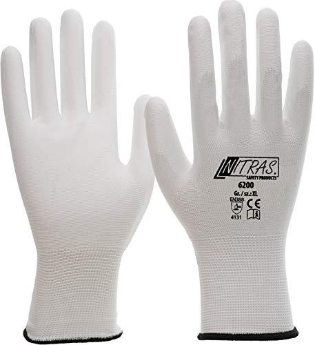 Nitras 1 Paar Montagehandschuh aus Nylon, 6200, weiß, PU-Handschuhe, versch. Größen (XL (9))