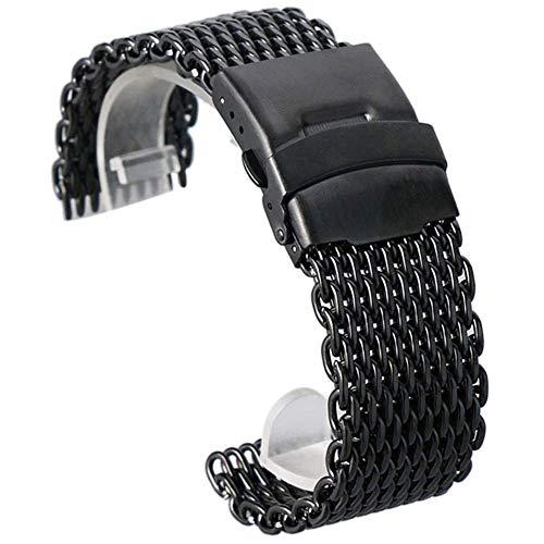 Correa de Reloj 18Mm 20Mm 22Mm 24Mm Acero Inoxidable Negro/Plata/Dorado Correa de Reloj Malla Web Reloj de Pulsera Correa + 2 Barras de Resorte # D34 Compatible con Relojes