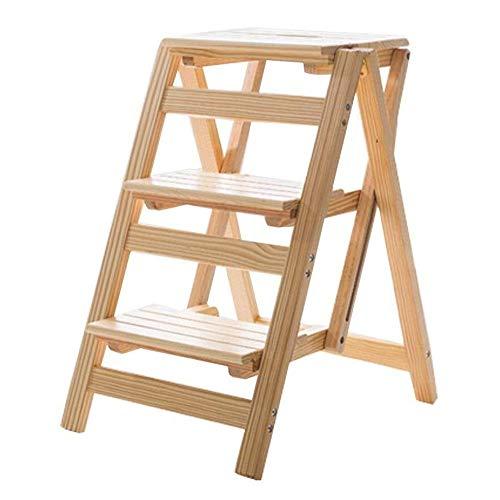 Bqy Jhgu multifunctionele ladder kruk van hout, opvouwbaar, planken, bibliotheek, 3 treden, 150 kg, capaciteit (natuurlijke kleur), opvouwbare treden