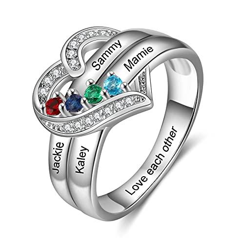 Ring mit Gravur Damen Silber 925 Personalisierte Mutter Tochter Freundschaftsringe mit Stein für Mom Geschenk für Geburtstag (4 Steine)
