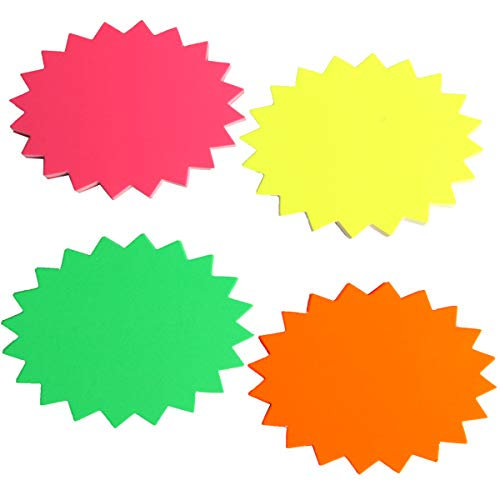 SBYURE Starburst Signs,80 Pack Fluorescent Neon Signs Star Burst Paper Signs,3.2 x 4.3 Inches 4 Bright Colors Display Tags
