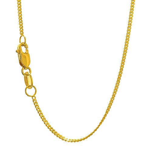 JewelStop 10k Solid Yellow Gold 1 mm Gourmette Curb Chain Necklace, Lobster Claw Clasp - 18 Inches, 1.5gr.