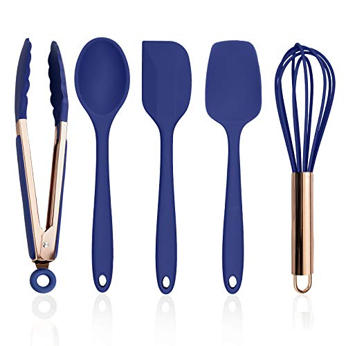 Cook with Color Silicone Cooking Utensils, 5 Pc Kitchen Utensil Set, Easy to Clean Silicone Kitchen Utensils, Cooking Utensils for Nonstick Cookware, Kitchen Gadgets Set - Navy and Copper