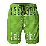 QUKEFU Bañador de Hombre,Tablero de ajedrez con Figura de ajedrez Mesa de táctica de fútbol estilizada,Natación Secado Rápido Pantalones Cortos Shorts de Playa para Swim XL