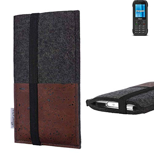 flat.design Handy Hülle Sintra für Energizer H240S Handytasche Filz Tasche Schutz Kartenfach Case braun Kork