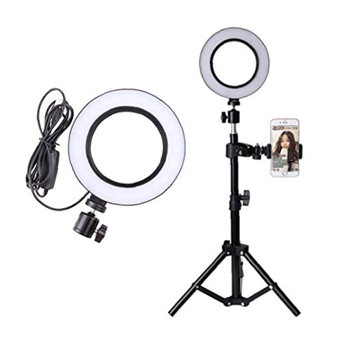 LED Ring Light with Tripod Stand, 10 inch Dimmable Ring Light, 3 Color Modes and 10 Brightness, USB Powered, Heighten Hose, Phone Holder for Live Streaming, Makeup, Camera, Selfie