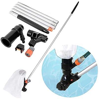 SpinLaLa Portable Jet Pool Vacuum, Handheld Manual Portable Summer Waves Pool Leaf Vacuum Cleaner for Above Ground Pools Head & Pole Kits