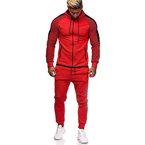 VANVENE - Conjunto de chándal informal para hombre, pantalones de correr y sudadera con capucha con cremallera, conjunto deportivo, M-5XL